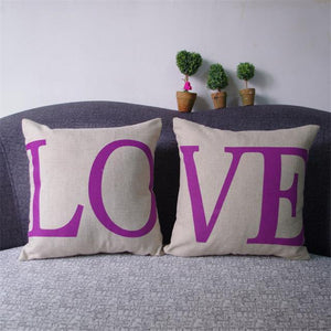 Romantic Floral LOVE Pattern Linen Couples Pillow Cases