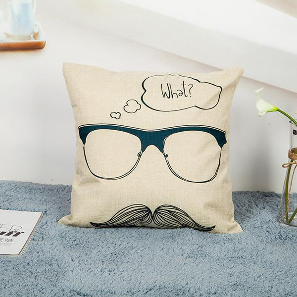 Beard/Letters/Glasses/Red Lips/Love Cotton Linen Cushion Cover - LoveLuve