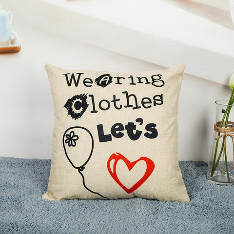 Image of Beard/Letters/Glasses/Red Lips/Love Cotton Linen Cushion Cover - LoveLuve
