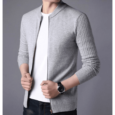 Image of Mens Round Neck Zip Up Cardigan in Navy - LoveLuve