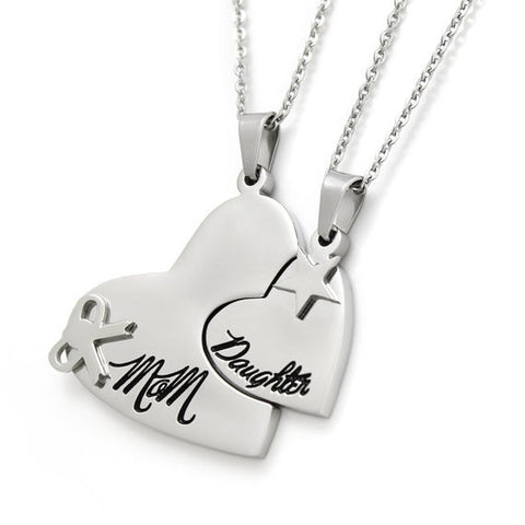 "Image of Heart Necklace Set (2pcs) - Daughter Mother Necklaces Engraved with ""Mom"" and ""Daughter"", 18"" Chains Included - LoveLuve"