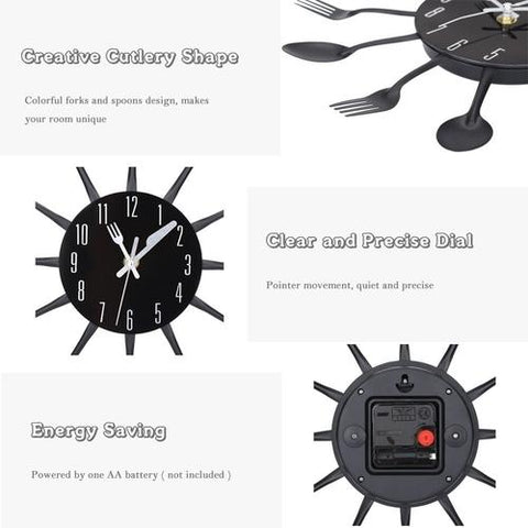 Image of Kitchen Cutlery Wall Clock - LoveLuve