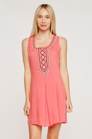 Image of Sleeveless Front Embroidery Shift Mini Dress - LoveLuve