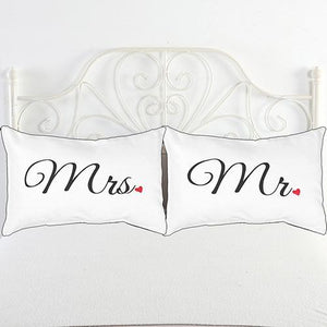 Black + White Letters Couple Bedding Decorative Pillowcase
