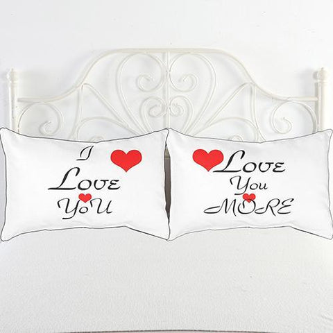 Black + White Letters Couple Bedding Decorative Pillowcase - LoveLuve