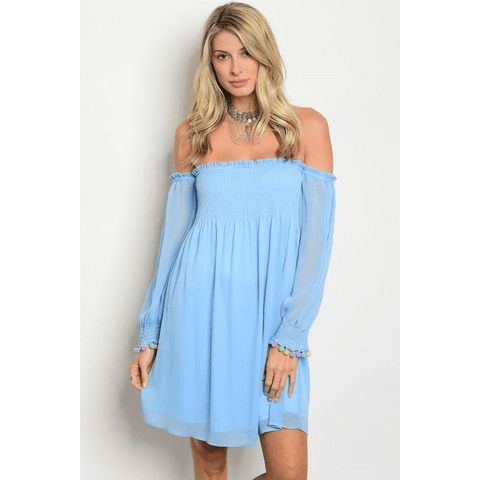 Image of Breezy off shoulder tunic top-light blue - LoveLuve