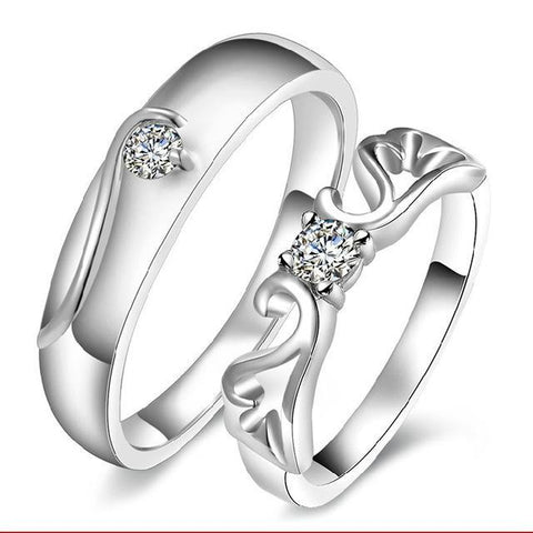 Image of Exquisite Mosaic Crystal Engagement Couple Rings - LoveLuve