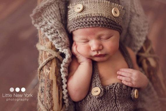 Newborn Baby Boys Cute Crochet Photo Prop Button Hat Pants Overalls Clothes Knitted Photography Prop Costume Outfits - LoveLuve