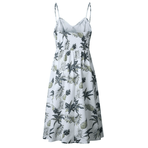 Image of Floral Shoulder Strap Summer Dress - LoveLuve