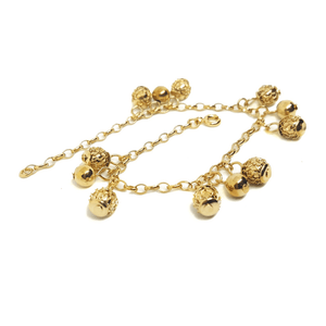 (1-0825-H5) Gold plated Filigree Ball Charms Bracelet, 7-1/4