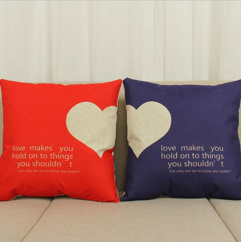 Heart-Shaped Cotton Pillow Cover for Sofa - LoveLuve