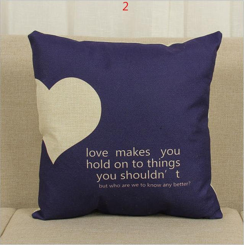 Image of Heart-Shaped Cotton Pillow Cover for Sofa - LoveLuve