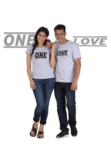 Image of One Love (Classic) Classic Couple T-Shirt Gray - LoveLuve