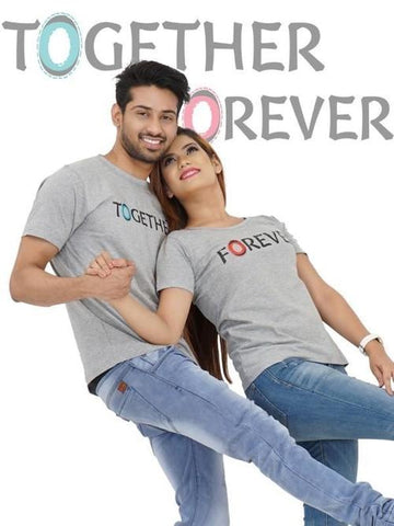 Image of TOGETHER FOREVER COUPLE Gray T-shirt