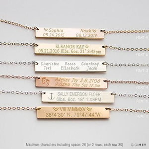 Baby's Birth Necklace, Baby Birth Stats Necklace, - LoveLuve