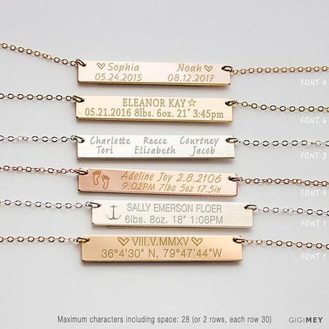 Image of Baby's Birth Necklace, Baby Birth Stats Necklace, - LoveLuve