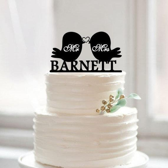 Love Birds Cake Topper, Custom Mr and Mrs Last Name Toppers - LoveLuve