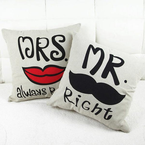 New Home, Office & Car Decorative Mr.and Mrs. Right Pillowcases for Couples - LoveLuve