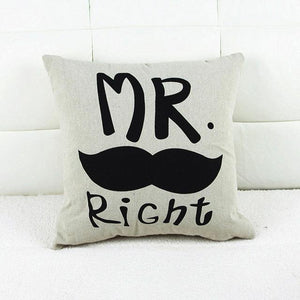 New Home, Office & Car Decorative Mr.and Mrs. Right Pillowcases for Couples