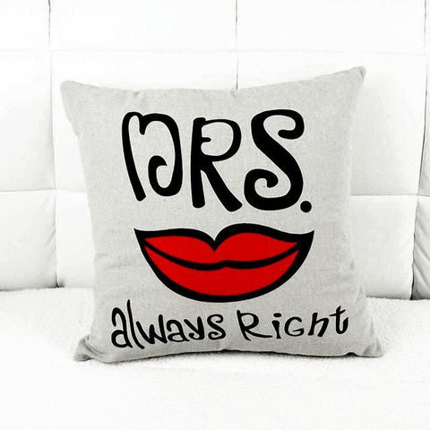 Image of New Home, Office & Car Decorative Mr.and Mrs. Right Pillowcases for Couples - LoveLuve