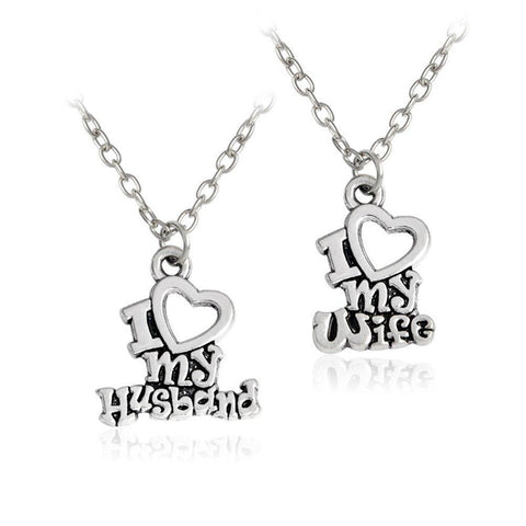 Image of I Love My Wife & I Love My Husband Couple Matching Love Necklace - LoveLuve