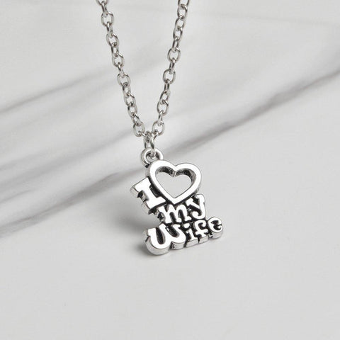 I Love My Wife & I Love My Husband Couple Matching Love Necklace - LoveLuve