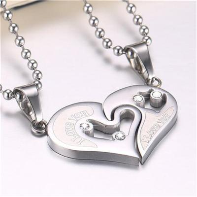 Memorable Hearts Puzzle Matching Couple Necklace - LoveLuve