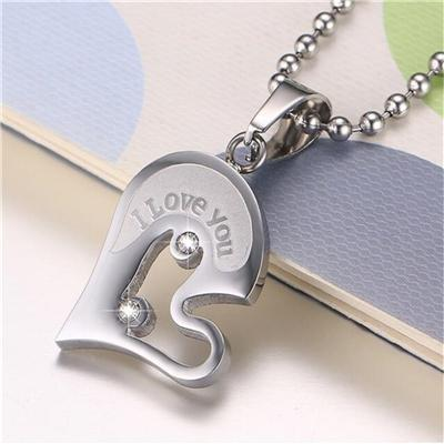Image of Memorable Hearts Puzzle Matching Couple Necklace - LoveLuve