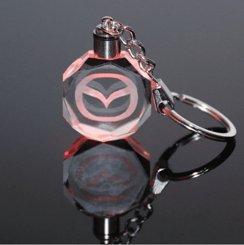 Image of 3D Laser Engraved Crystal LED Car Logo Keychain