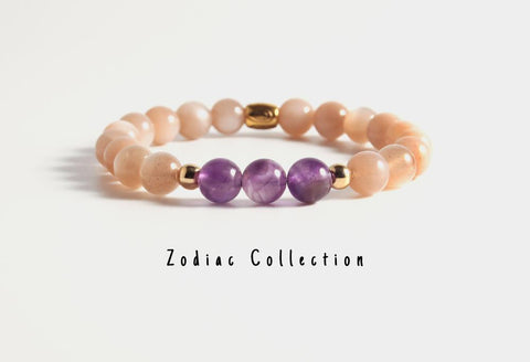 Natural Amethyst Moon Stone Beaded Bracelet - LoveLuve