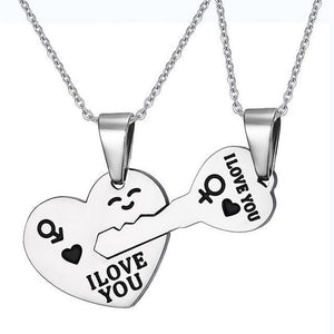 Korean Couple Matching Hearts Key Necklaces Set