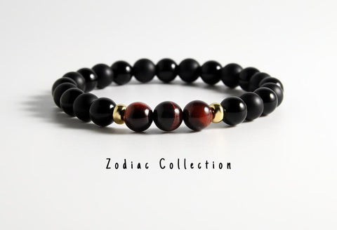Mens Natural Tigers Eye / Black Onyx Beaded Bracelet - LoveLuve