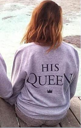 H1071 2016 New Fashion Couples Sweatshirts KING QUEEN Casual Long Sleeve Pullovers Hoodies Lovers Sweatshirt - LoveLuve