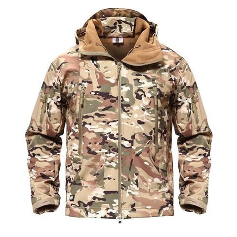 Image of Shark Skin Military Softshell Waterpoof Tactical Camouflage Army Hoody Jacket