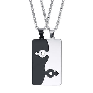 1Pair Couple Pendent Necklace Lovers Homosexual Necklace LGBT Jewelry Gay Pride Stainless Steel Best Friendship Women Men Puzzle