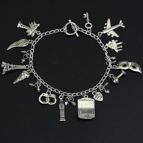 Women Fashion FSOG Charm Bracelet Fifty Shades of Grey Inspired 50 Shades charms Tie Handcuffs Gray Bracelets