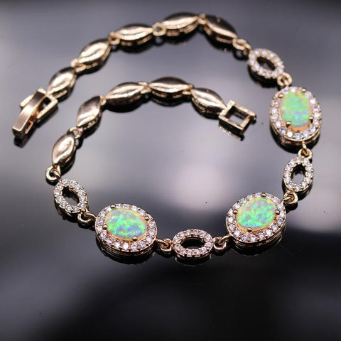Image of Bule/White Fire Opal & AAA Zirconia  Women Bracelet - LoveLuve