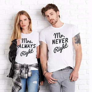 bc5ed31d Mrs. Always Right & Mr. Never Right Funny Couple Matching T Shirt -  LoveLuve ...