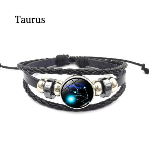 Zodiac Glass Metal Buckle Charm Bracelet - LoveLuve