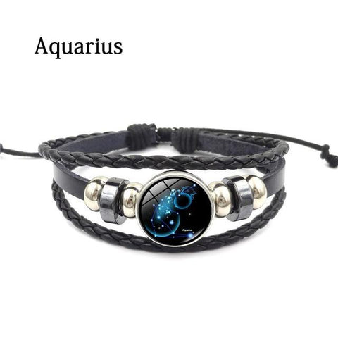 Image of Zodiac Glass Metal Buckle Charm Bracelet - LoveLuve