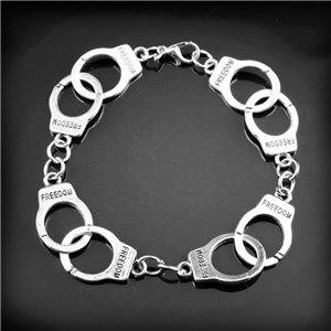 Hot Sale Fashion Fifty Shades Of Grey Inspired 50 Shades Charms Bracelet Tie Handcuffs Gray Bracelets Women Crime Bracelet
