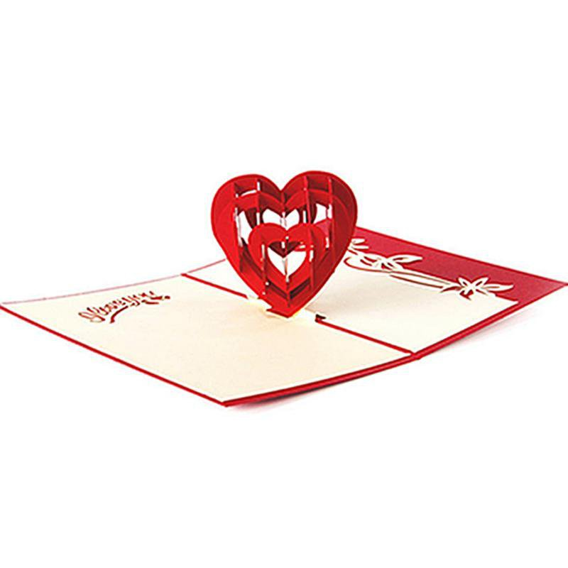 Heart 3D Greeting Card Pop Up Paper Cut Postcard Birthday Valentines Party Gift -W210