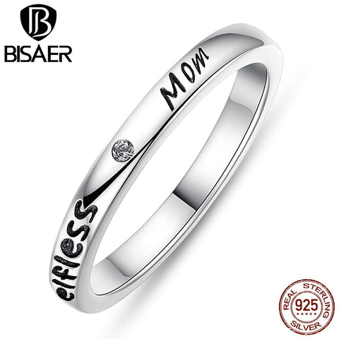 Image of 925 Sterling Silver Stackable Ring Heart ,Crown ,Selfless Mom Rings for Women Clear CZ Sterling Silver Jewelry