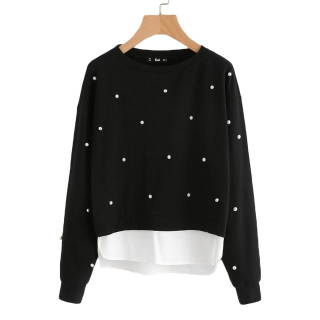 Women Pearl Beading 2 In 1  Black Long Sleeve Sweatshirt - LoveLuve