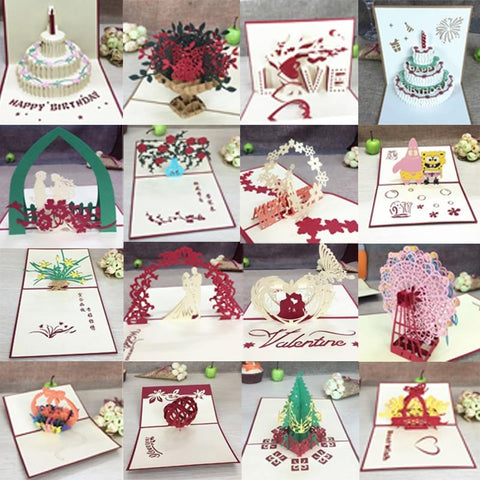 Image of 1pcs 3D Pop Up Greeting Cards With Envelope Laser Cut Post Card For Birthday Christmas Valentine' Day Party Wedding Decoration