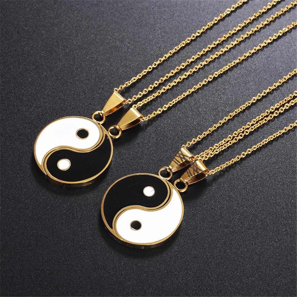 Matching 2 Pieces Stainless Steel Yin Yang Pendant Necklace - LoveLuve