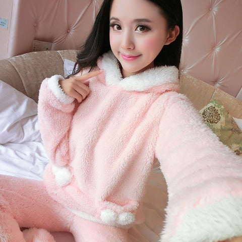 Autumn and winter thickening flannel pajamas sleepwear women long-sleeve plus size coral fleece cartoon female - LoveLuve