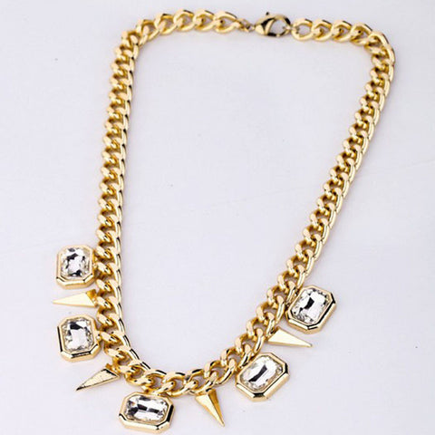 Image of Women Punk Style Metal Rivets Crystal Rhinestone Golden Chain Necklace