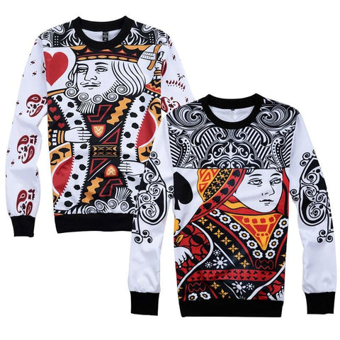 Image of 2018 New Fashion Men Women Couple Sweatshirts Cool 3D Print Funny Poker KING QUEEN Pullover Black Heart Q Hip Hop Unisex Hoodie - LoveLuve