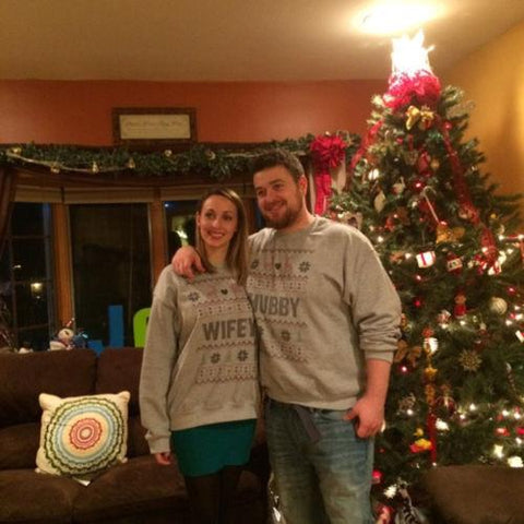 Image of Hubby & Wifey Matching Ugly Christmas Couples Sweaters - LoveLuve